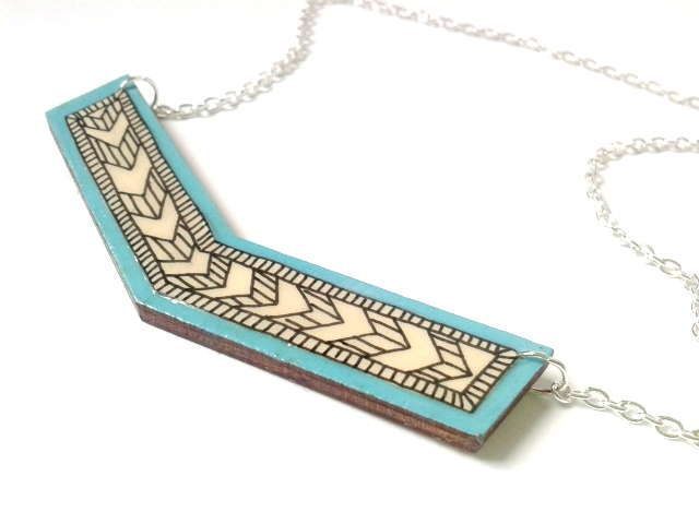 Turquoise Blue Illustrated Wooden Chevron Necklace