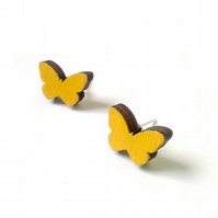 Tiny Yellow Painted Wooden Butterfly Stud Earrings