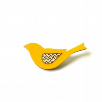Bird Brooch Bright Yellow Wooden Folk Style