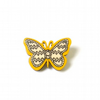Mustard Yellow Illustrated Wooden Butterfly Brooch