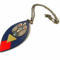 Contemporary Illustrated & Painted Shield Style Native Pendant Necklace