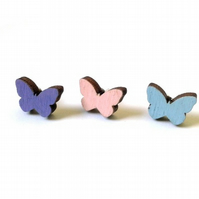 Tiny Wooden Butterfly Stud Earrings