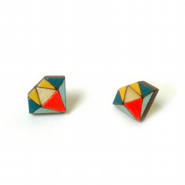 Tiny Wooden Diamond Stud Earrings by Red Paper House