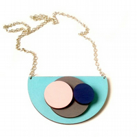 Geometric Wooden Circle Necklace