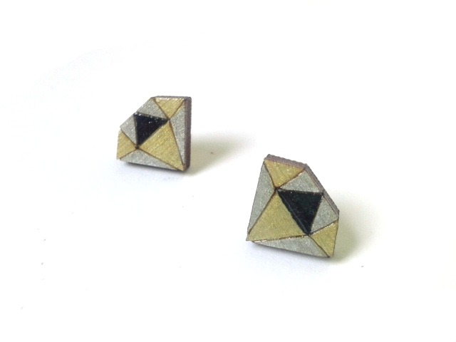 Tiny Wooden Diamond Stud Earrings in Metallic Colours