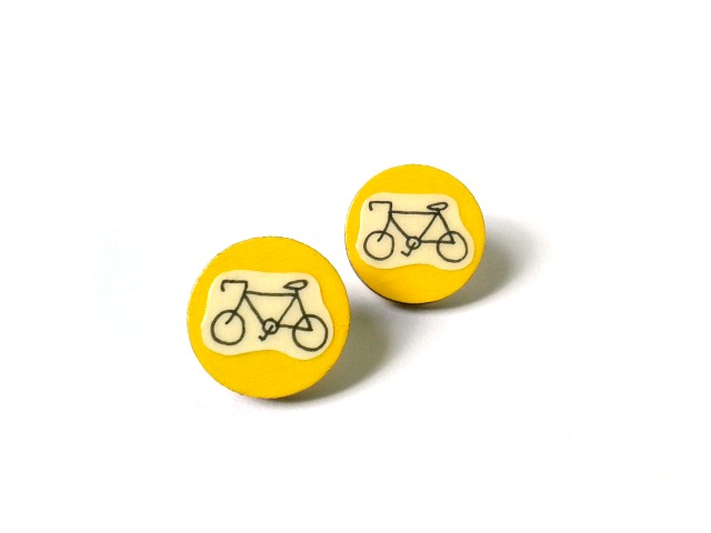 Mustard Yellow Illustrated Bicycle Earrings