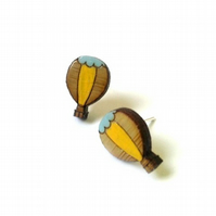 Tiny Hot Air Balloon Wooden Stud Earrings