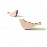 Tiny Pastel Pink Painted Wooden Bird Stud Earrings