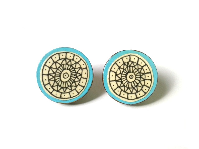 Illustrated Turquoise Blue Geometric Circle Stud Earrings