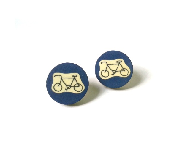 Navy Blue Illustrated Bicycle Earrings