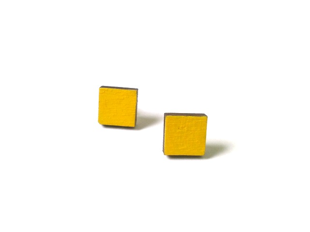 Tiny Mustard Yellow Wooden Square Stud Earrings