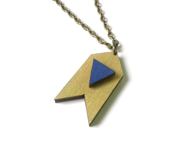 Geometric Gold Wooden Chevron & Navy Blue Triangle Necklace