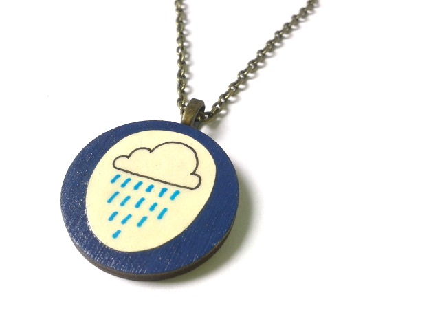 Illustrated Navy Blue Rain Cloud Necklace