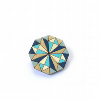 Wooden Diamond Stained Glass Brooch