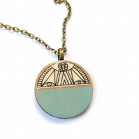 Hand Illustrated Duck Egg Blue Illustrated Wooden Circle Necklace