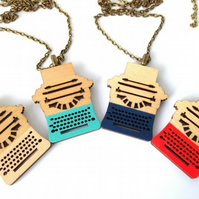 Mini Hand Painted Wooden Typewriter Necklace