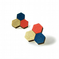 Honeycomb Trio Geometric Stud Earrings