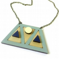 Geometric Wooden Trapezium and Triangle Necklace