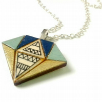 Wooden Diamond Crystal Necklace
