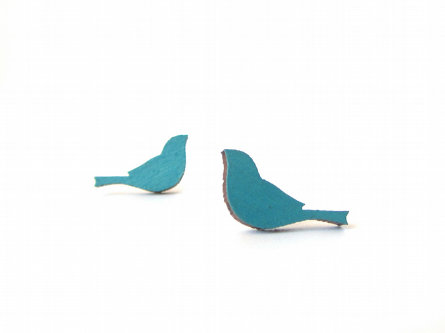 Tiny Teal Blue Green Painted Wooden Bird Stud Earrings