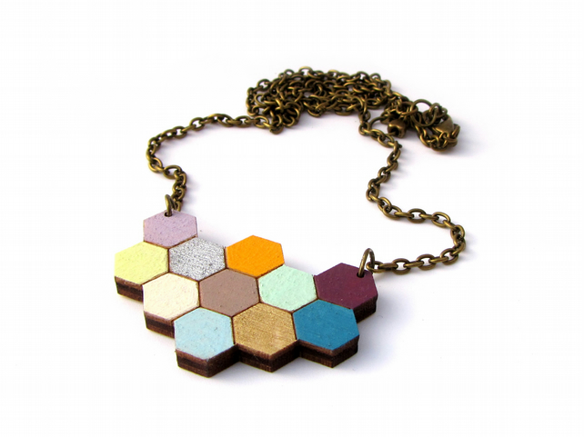 Floral 'Apis' Wooden Honeycomb Hexagon Necklace