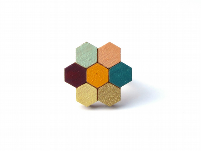 Wooden Honeycomb Flower Brooch