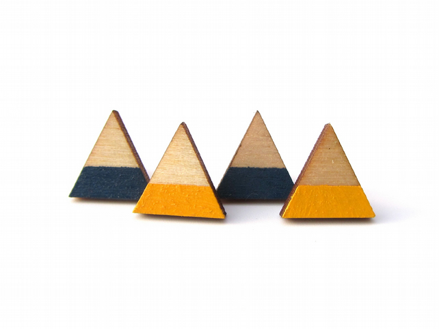 Wooden Triangle Stripe Earrings