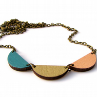 Trio Scallop Semi Circle Wooden Necklace