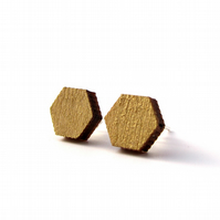 Mini Gold Hexagon Stud Earrings
