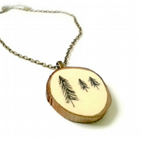 Hand Illustrated Paper Natural Tree Bark Necklace