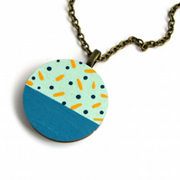 Mint Green Polka Dot Wooden Circle Necklace