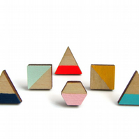 Geometric Shape Painted Wooden Stud Earrings