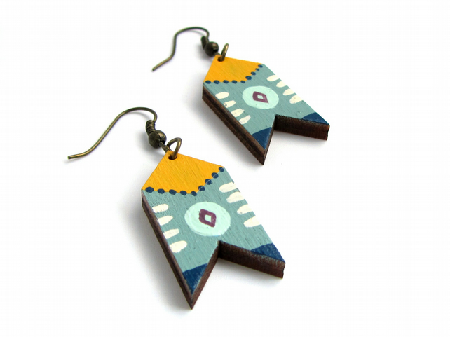 Duck Egg Blue Painted Chevron Folk Earrings
