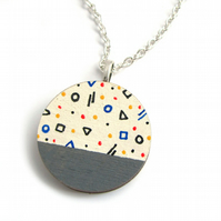 Hand Painted Mini Geometric Shape Pattern Circle Necklace