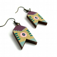Gold and Purple Painted Folk Style Chevron Drop Earrings
