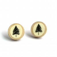 Hand Illustrated Tree Stud Earrings