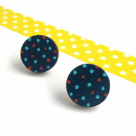 Polka Dot Wooden Circle Stud Earrings