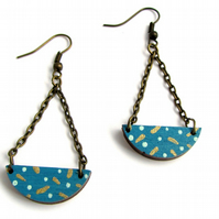 Polka Dot Painted Blue Semi Circle Drop Style Swing Earrings
