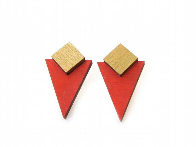 Terracotta Triangle and Gold Square Geometric Wooden Stud Earrings