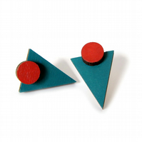 Teal Triangle and Terracotta Circle Geometric Shape Earrings