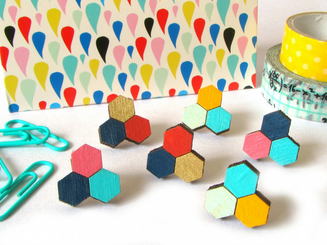 Hexagon Honeycomb Trio Wooden Stud Earrings
