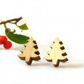 Tiny Wooden Tree Stud Earrings