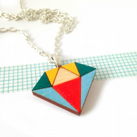 Diamond Necklace Hand Painted Geometric Wooden