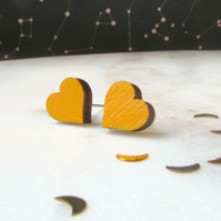 Tiny Mustard Yellow Wooden Heart Stud Earrings