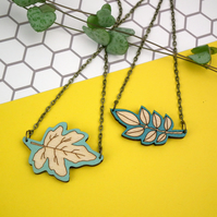 Wooden Botanical Leaf Necklace