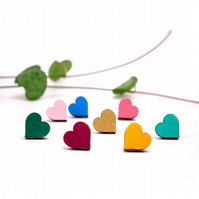 Wooden Heart Stud Earrings
