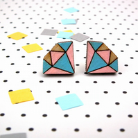 Wooden Pastel Diamond Stud Earrings