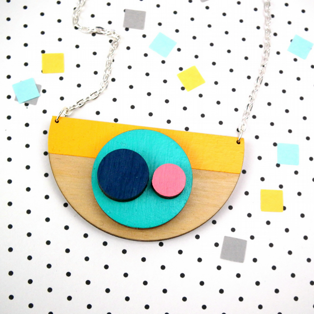 Abstract Semi Circle Geometric Necklace