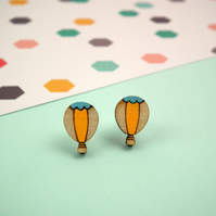 Hot Air Balloon Wooden Stud Earrings