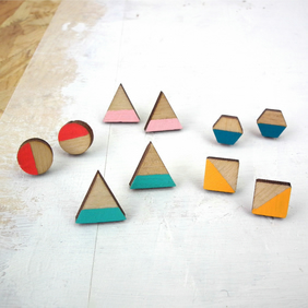 Geometric Wooden Stripe Stud Earrings